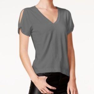 🎁CHELSEA SKY Gray V Neck Short Sleeve Top Large